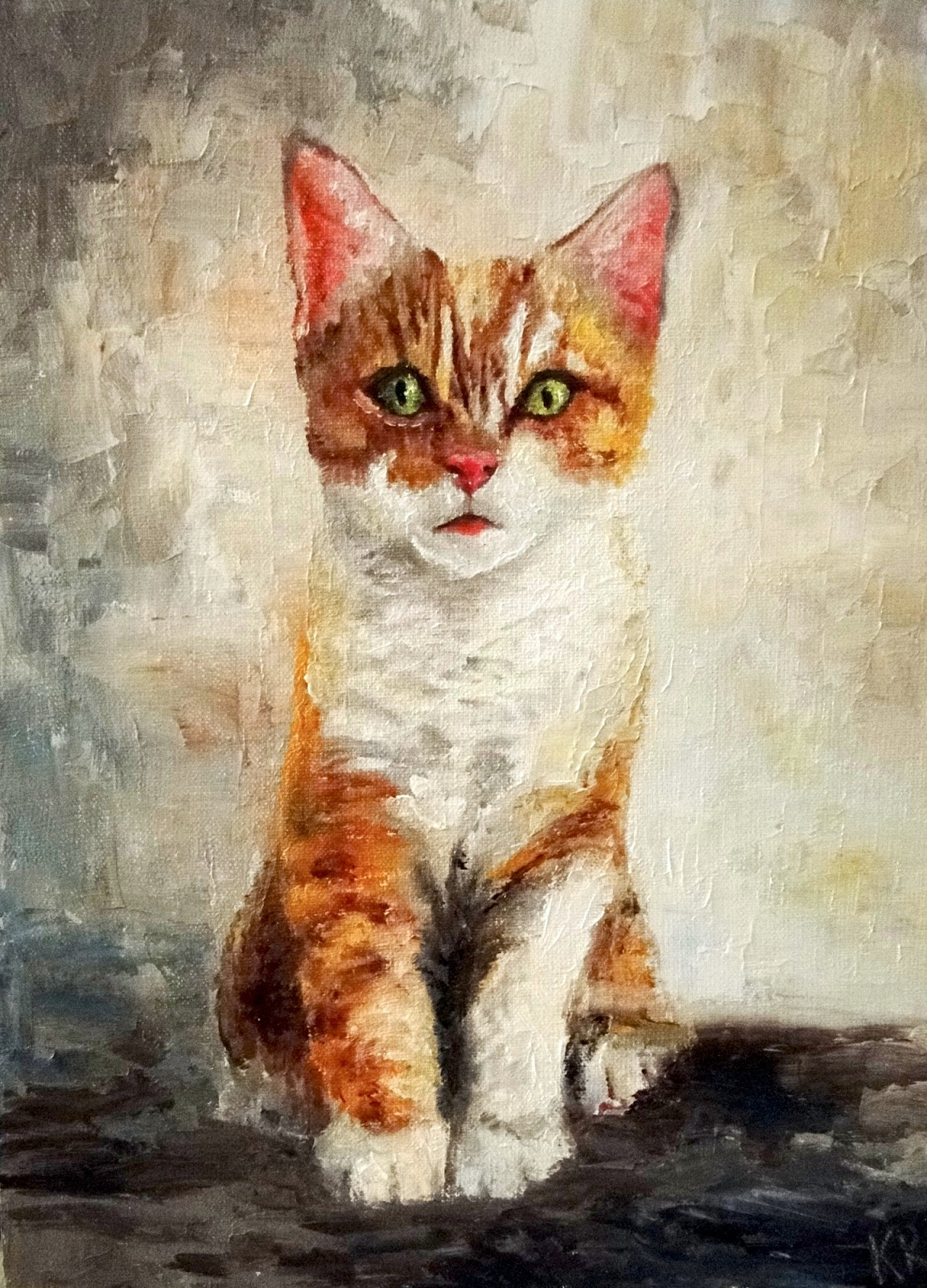 oil painting, ginger and white kitten, pet portrait by karen