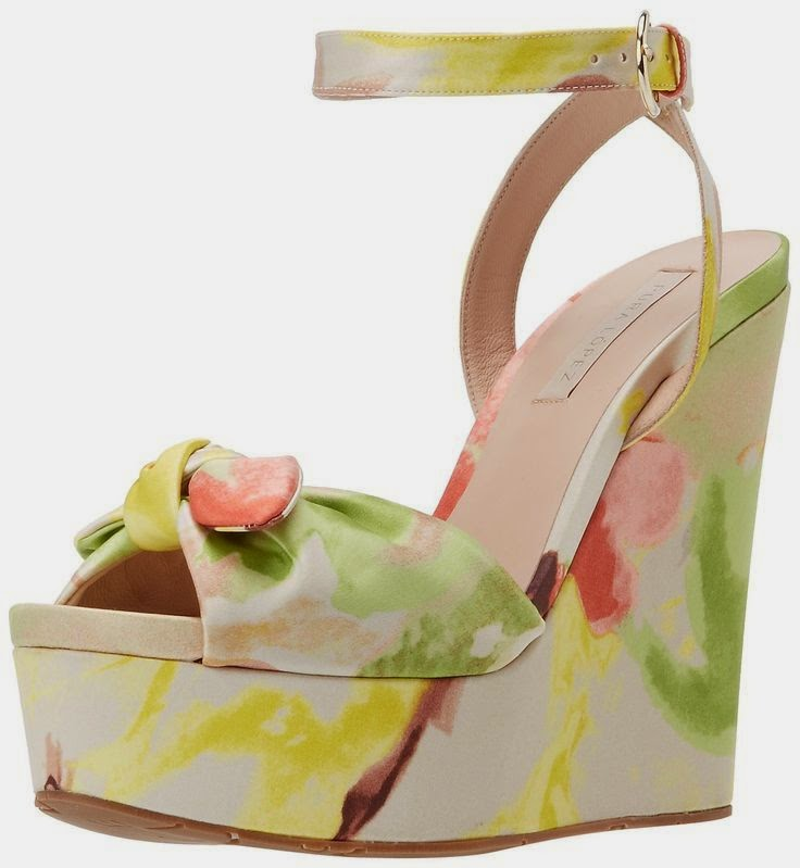 Pura Lopez abstract floral wedge sandal