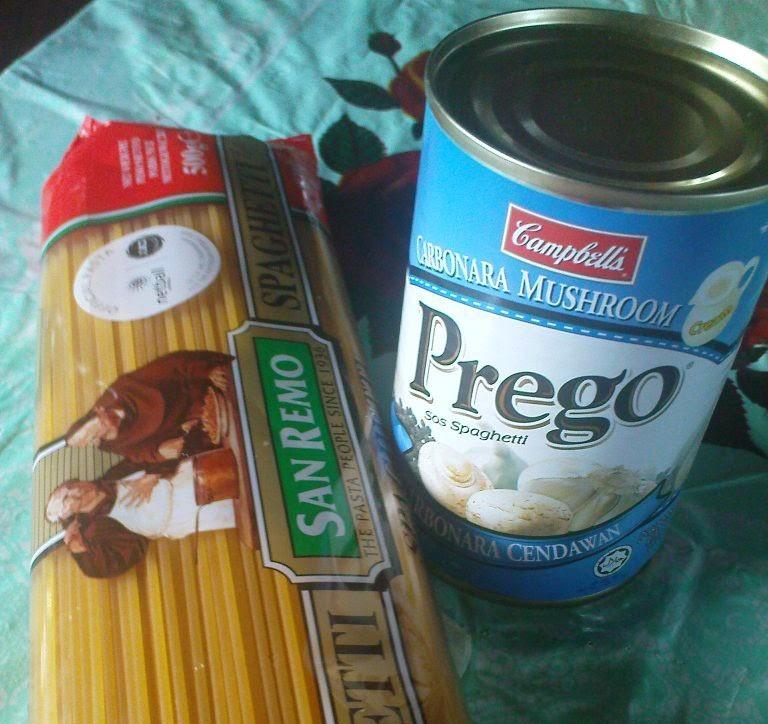spaghetti carbonara,mudah,sedap