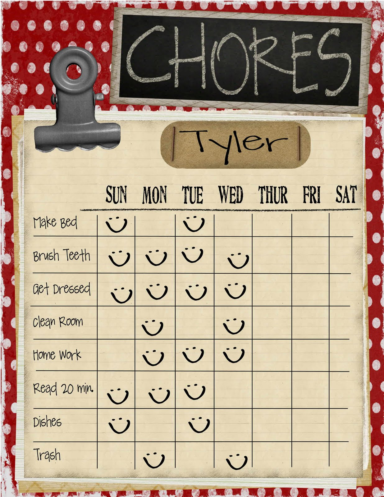 It is a graphic of Breathtaking Printable Kid Chore Charts