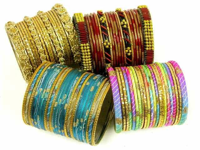 glass and metal bangles Bangles Collection