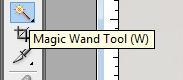 menggunakan magic wand tool untuk menyeleksi
