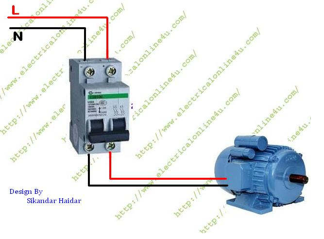1 Pole Contactor Wiring Diagram: How to wire Single Phase Motor From Two Pole Circuit Breaker rh:electricalonline4u.com,Design