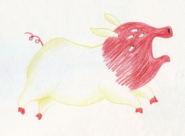 Mar Villar - Dibujos a dos colores, cerdo con muchos ojos