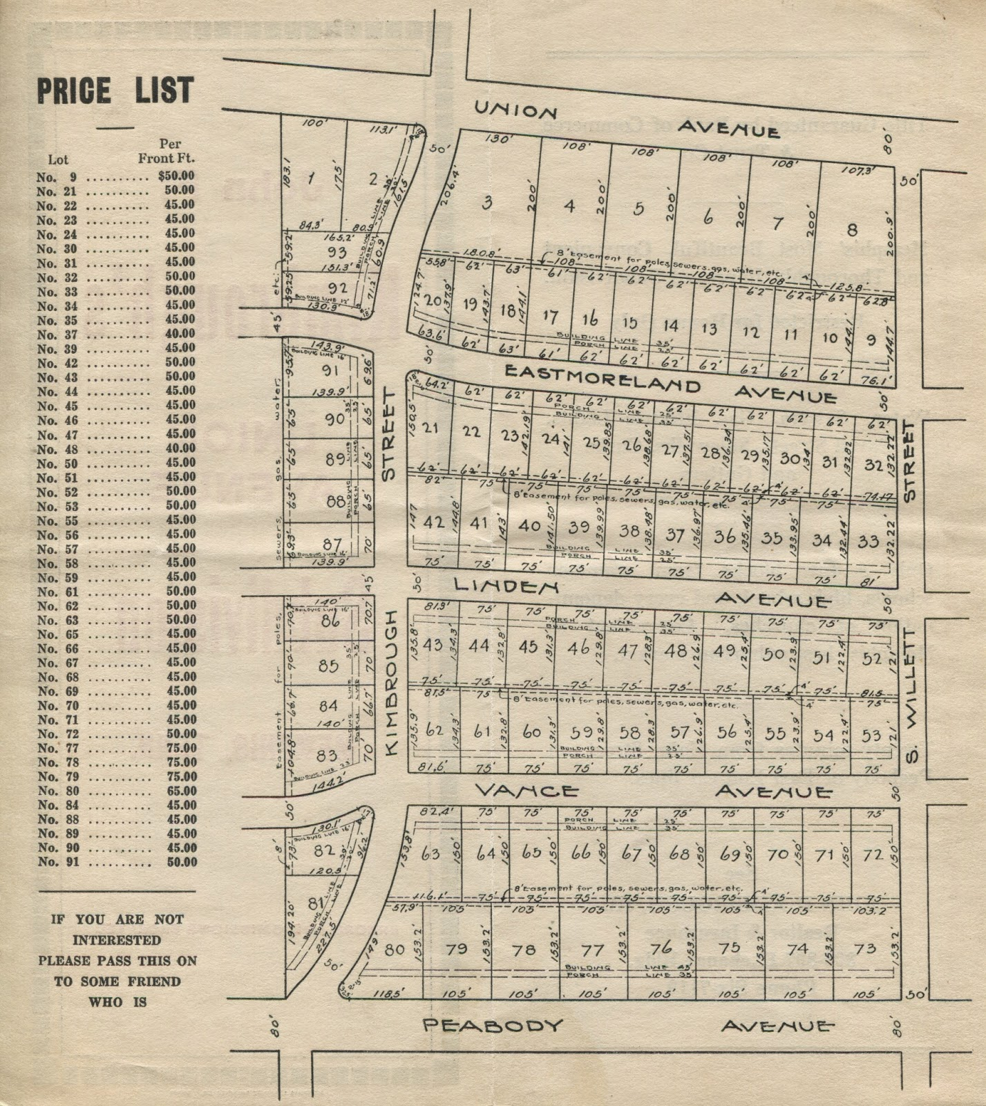 there are a few interesting points to be gleaned from this map of the subdivision that was contained in the original brochure the pricing graduation of