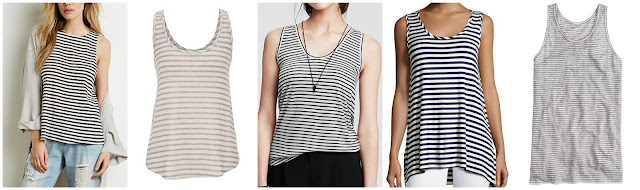 Forever 21 Striped Cutout Back Tank $11.61 (regular $12.90) extra 30% off with code EXTRA30  Maurices Knit Tank with Stripes $12.00 (regular $20.00)  Banana Republic Striped Shirttail Racerback Tank $19.99 (regular $36.50)  Neiman Marcus Striped Scoop Neck Tank $29.50 (regular $59.00)  J. Crew Striped Linen Tank Top $29.99 (regular $35.00) also in racerback