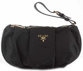 f6677eee384f7d GlamourGirlHouse: Prada Tessuto Wristlet Clutch Bag - Black / Brown