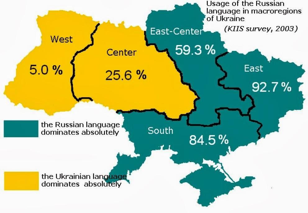 Conflicto interno ucraniano Mapa+linguistico