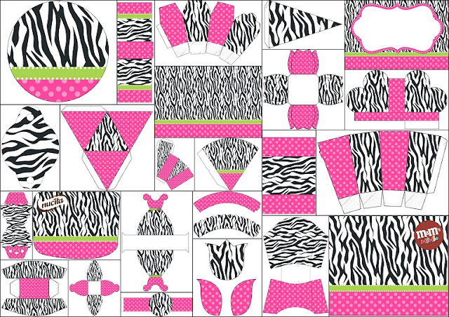 Glam Pink and Zebra Free Printable Kit.