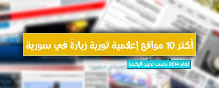 أكثر 10 مواقع إعلامية ثورية زيارةً في سورية لعام 2014 بحسب ترتيب أليكسا العالمي
