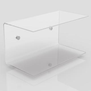 mensola trasparente a C in plexiglass