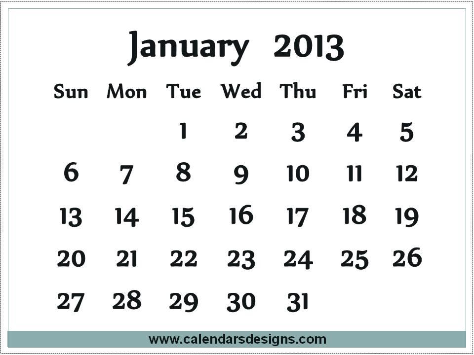 January 2013 Calendar printable