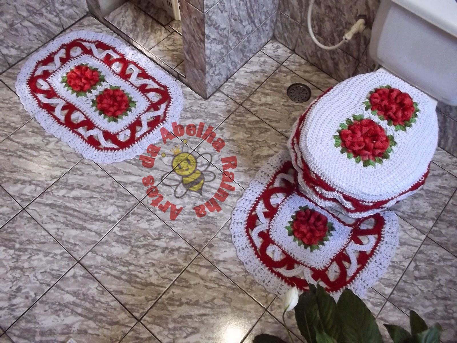 Jogos De Banheiro Vermelho E Branco : Artes da abelha rainha jogo de banheiro croch?