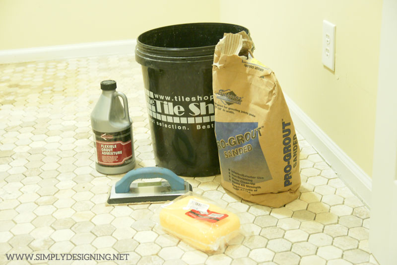 How to Install Hexagon Tile Floors: grout supplies | a complete tutorial for how to demo, prep, install concrete backer board and install new tile floors | #diy #tile #homeimprovement #hexagontile #travertine #thetileshop @thetileshop