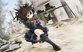 firing rifle anime girl uniform hd wallpaper