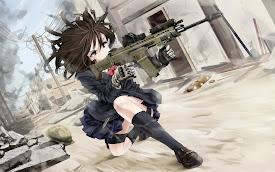 firing rifle anime girl uniform hd wallpaper