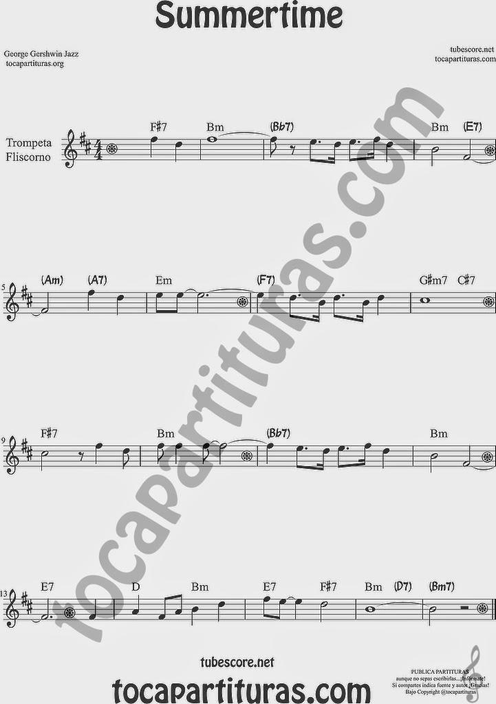 Summertime de Partitura de Trompeta y Fliscorno Sheet Music for Trumpet and Flugelhorn Music Scores