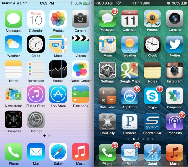iOS 7 Vs iOS 6 Homescreen