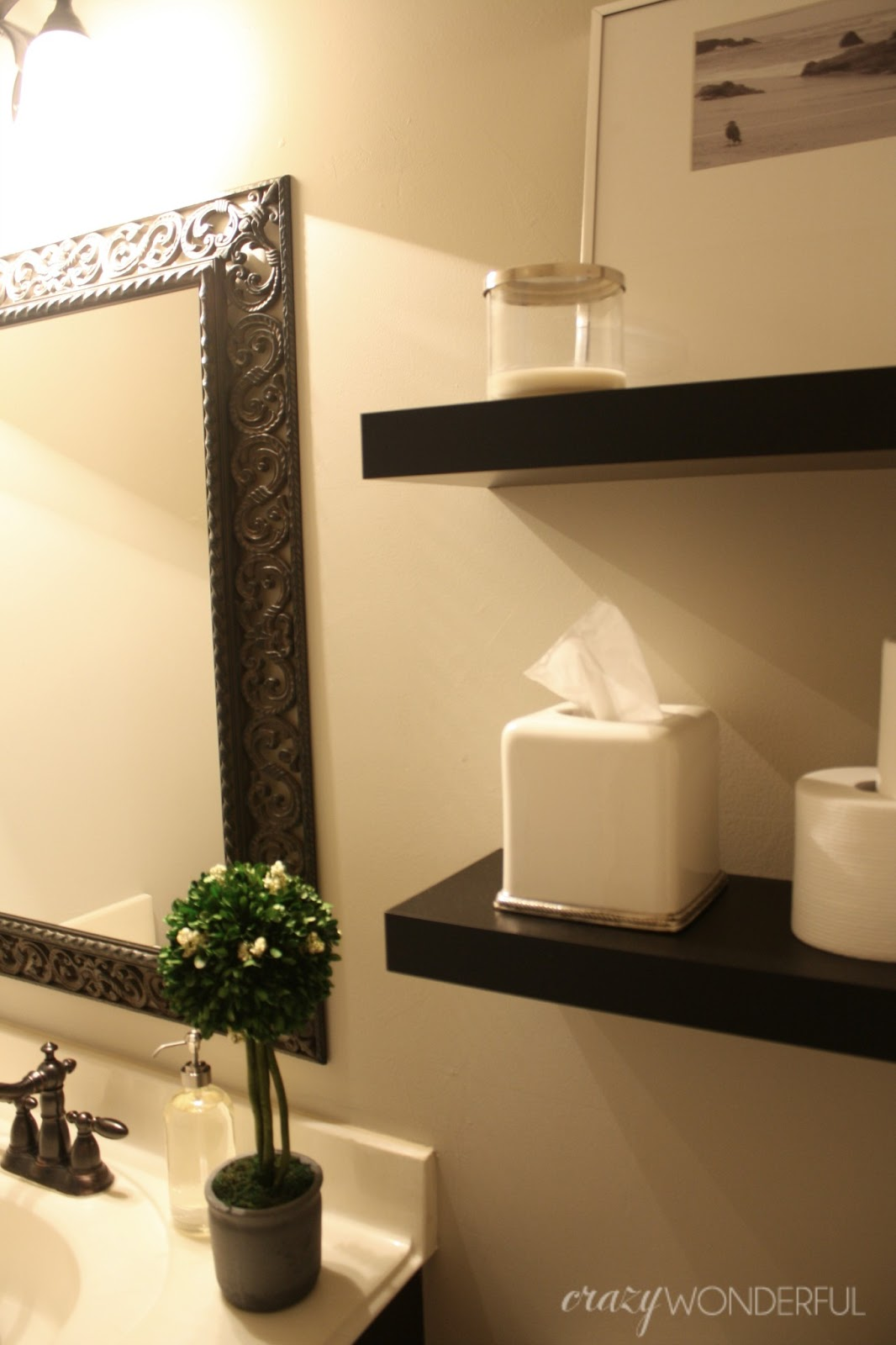 quick powder room makeover - Crazy Wonderful