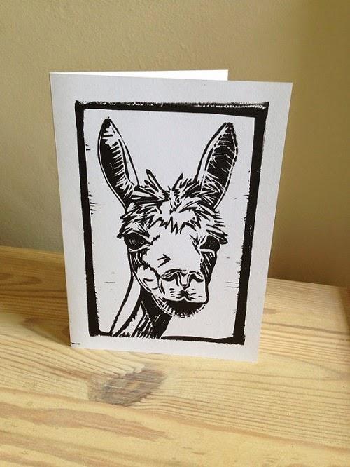 PrintsbyLucyPerry alpaca linocut card