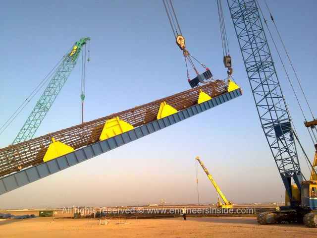 Test pile being lifted with the platform