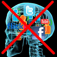 MRI scan with Social Media icons, crossed out