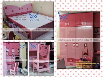 Bộ phòng bé gái màu hồng điệu đà