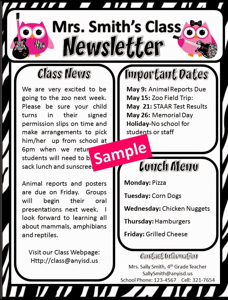 https://www.teacherspayteachers.com/Product/Rock-Star-Owl-Free-Editable-Newsletter-Templates-1256370