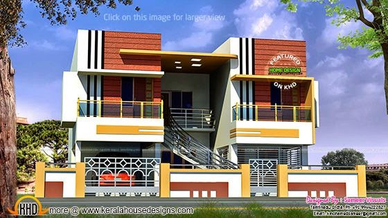 Tamilnadu style duplex house kerala home design and for Home outlook design