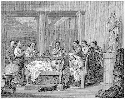 Roman citizens, couch, dog, statue, pedestal, toga, columns
