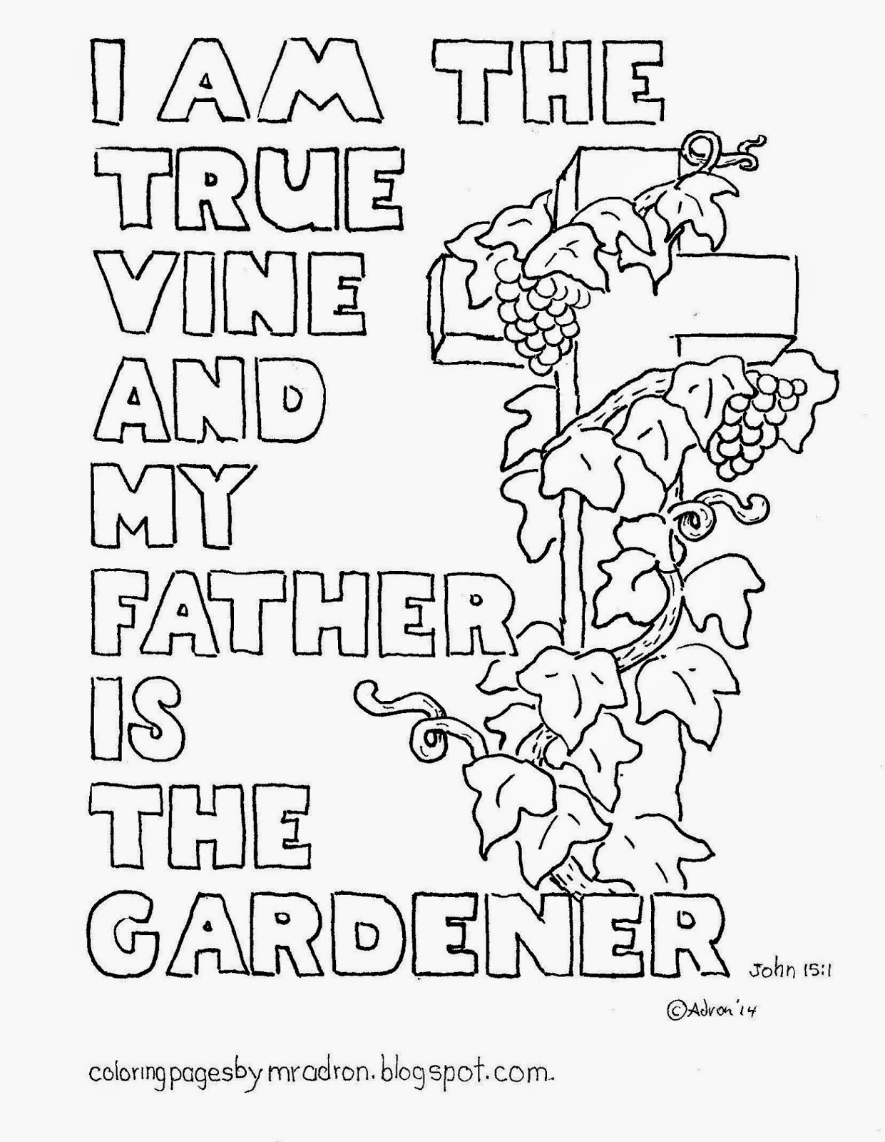 Coloring Pages For Kids By Mr Adron I Am The True Vine
