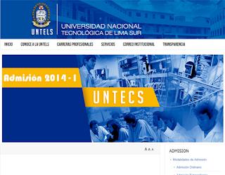 Resultados Ingresantes UNTELS 2014, Examen Admisión Universidad Nacional Tecnológica de Lima Sur Villa El Salvador 2014 II 31 de Agosto