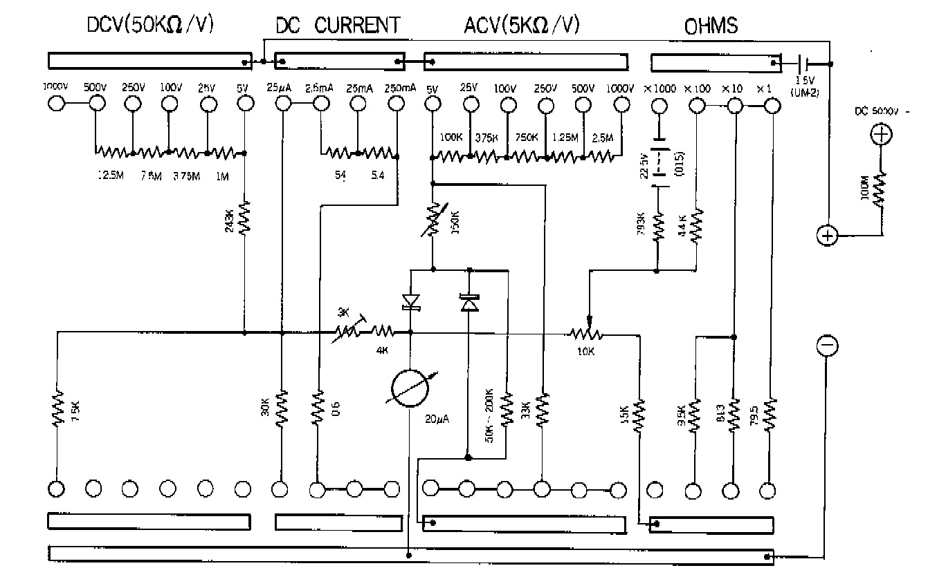 sanwa 320 x analogue multimeter schematic diagram click on rh electronicshelponline blogspot com sanwa analog multimeter circuit diagram Analog Meter