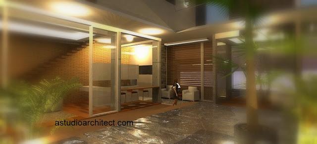 a desain profesional rumah dengan kolam renang yang modern