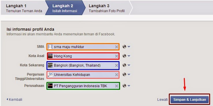 form data diri facebook