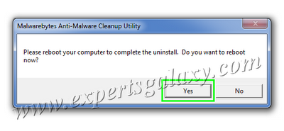 Cleanup Utility Reboot Confirmation