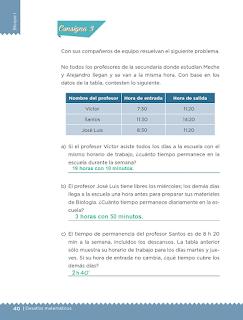 Respuestas Apoyo Primaria Desafíos matemáticos 5to grado Bloque I lección 15 ¿Mañana o noche?