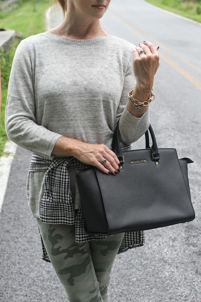 michael kors handbag, madewell linen sweater, david yurman ring