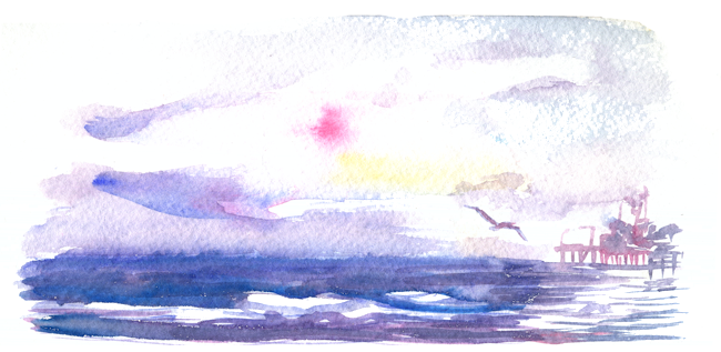 "Shiho Nakaza ""Santa Monica"" ""Los Angeles"" beach watercolor sketch"