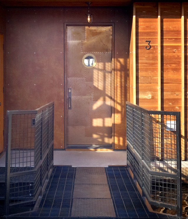 Photo of entrance doors into floating home