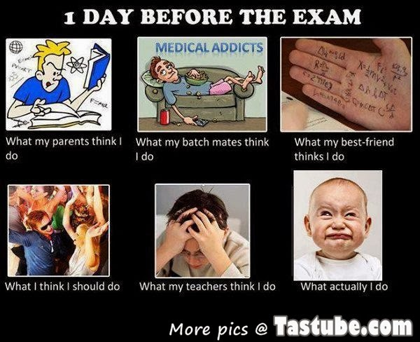 one day before exam