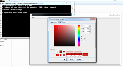 Java Code to create Color chooser inside your program - Output