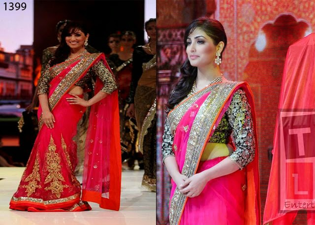 New Designer Pink and Orange Yami Guatam Saree