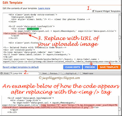 Screen shot of Blogger's Edit Template to show customization code for Read More button image
