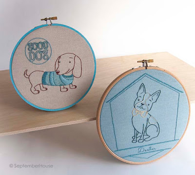 Dogs embroidery patterns boston terrier and dachshund