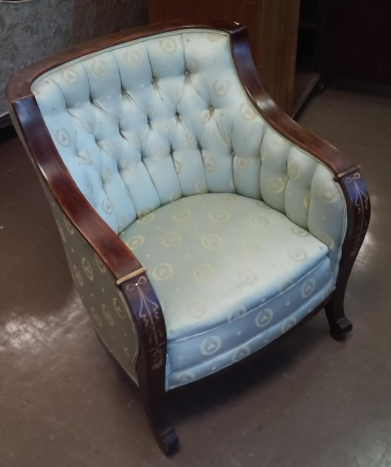 Antique barrel chair - Sold Antique Barrel Chair With Inlay 110