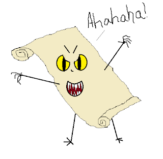 Unrolled parchment standing tall, holding out its arms menacingly while laughing with it's jagged-toothed mouth.