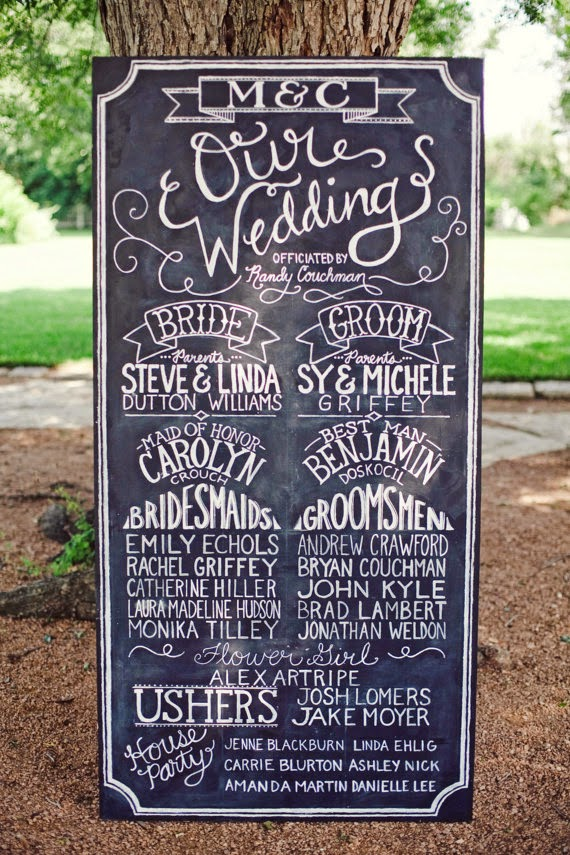 Wedding Party chalkboard - Beautiful Examples of Hand Lettering in Wedding Signage on HelloBrio.com