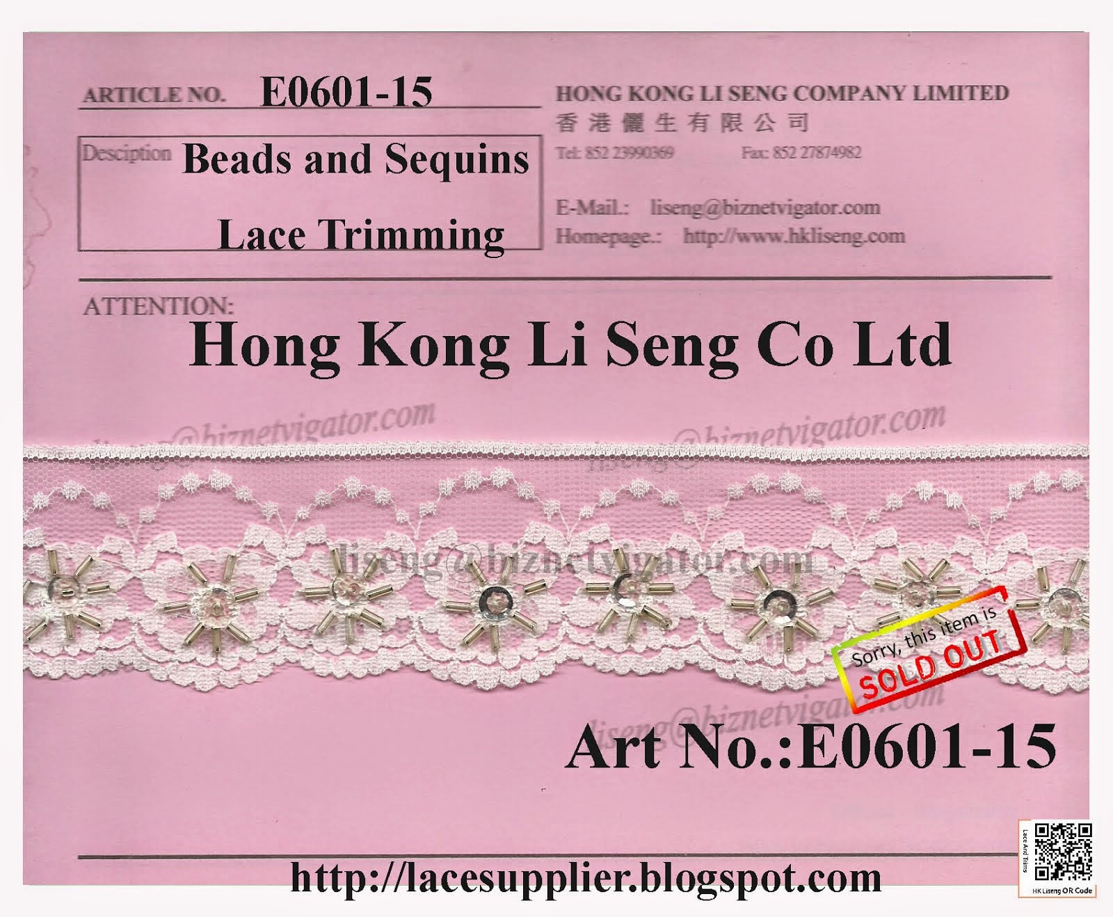Beads and Sequins Lace Trimming Factory - Hong Kong Li Seng Co Ltd