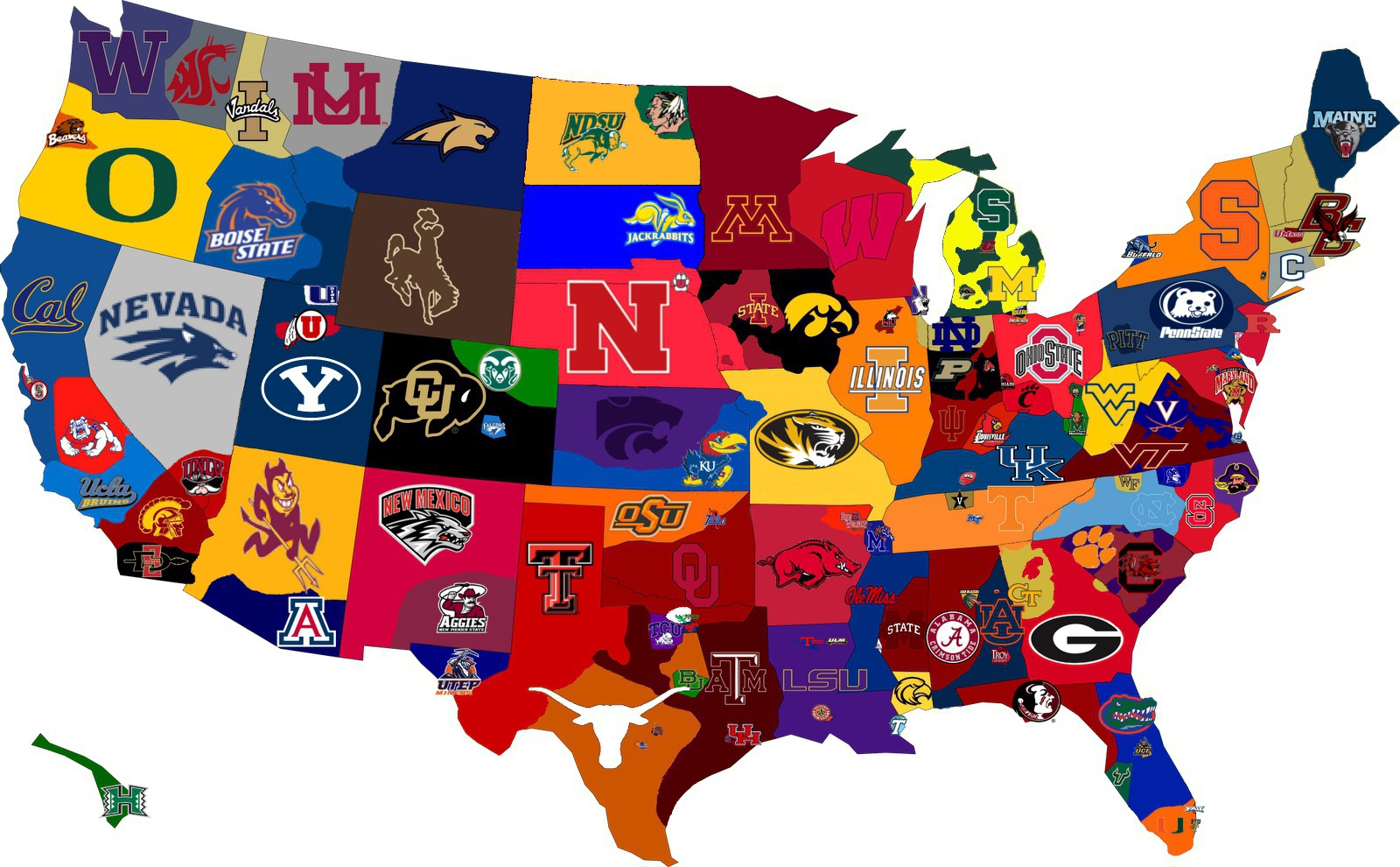 college football team map imagefiltr. Black Bedroom Furniture Sets. Home Design Ideas